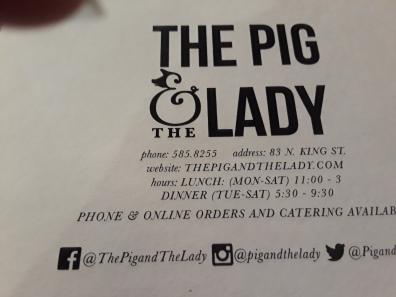 Lady n Pig menu